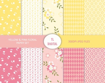 Yellow and Pink - Spring Floral - Digital Paper Set - 10 Patterns - 12x12""