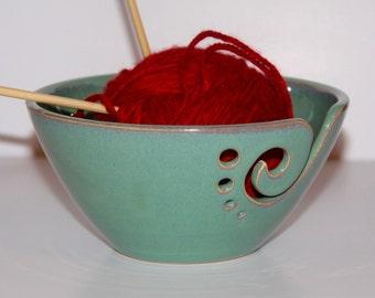 Yarn Bowl / Knitting Bowl / Crochet Bowl / Sea Foam Green Yarn Bowl / Made to Order