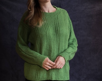 Cozy, warm, green sweater hand knitted