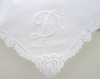 2nd Anniversary Gift for Her,  2nd Wedding Anniversary Gift for Wife, Personalized 2nd Wedding Handkerchief, Cotton Anniversary gift for Her