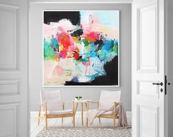 Vibrant Colorful art, Bright Multicolor Abstract Painting, Print on Canvas, Art Print for living Room, abstract Giclee print