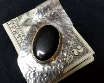 Large Hammered Fine Silver Money Clip with Black Onyx Cabochon
