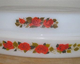 large 2 part Vintage Phoenix opaline glass oval casserole dish lid lid like pyrex with rose design