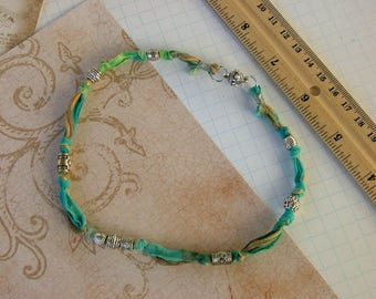 Torn and Knotted Boho Silk Necklace