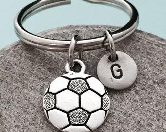 Soccer ball keychain, soccer ball charm, sports keychain, personalized keychain, initial keychain, customized keychain, monogram