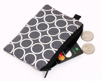 Gray Coin Purse, Padded Zippered Gift Card Pouch, Women's Small Makeup Pouch, Padded Coin Wallet - pewter grey and white circles