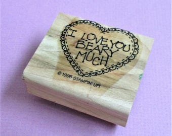 I Love You Beary Much Papercraft Rubber Stamp DIY Card Making Paper Craft Scrapbooking Collage Stamping Supply Wood Mount Stampin Up 1995