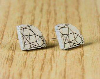 Diamond Studs Wood Earrings