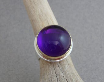 Large Amethyst Ring in 18k Gold and Sterling Silver, February Birthstone Ring