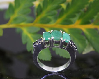 Garnet & Topaz Sterling Silver Ring - Vintage Ring 925