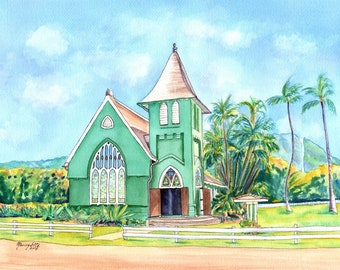 Hanalei Church, Hanalei Green Church, Waioli Huiia Church, Wai'oli Hui'ia Church Kauai, Kauai Old Churches, United Church of Christ