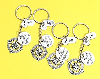 Set of 4 bff keychains, bff charm, bff keychain, set of 4 best friend,no matter where bff,personalized,customized,initial keychain, bff gift