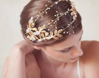 Gold bridal Headpiece, Golden leaves bridal headband, gold metal hair vine, gold wedding headpiece, bridal tiara, Grecian beaded crown