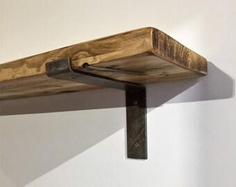 220mm x 38mm Reclaimed pine shelf with Industrial Metal Bracket