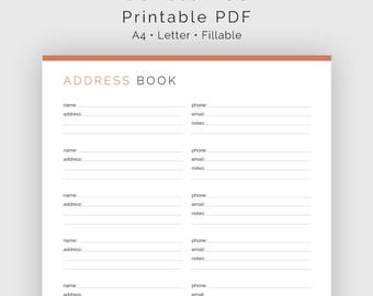 Address & Phone Directory - Fillable - Printable PDF - Contact list, Address Book, Contact Organiser - Household Binder - Instant Download