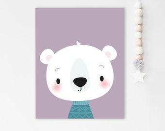 Bear print, cute bear, Nursery wall decor, Cute art work, animal nursery print, Kids bear print, Minimalist kids art, Nursery decor