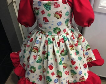 "Custom made girls 2pc Christmas ""Shopkins"" Holiday Ruffle Dress"