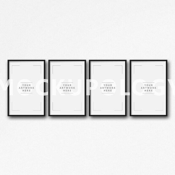11 x 17 serie de cuatro maquetas de marco negro DIGITAL