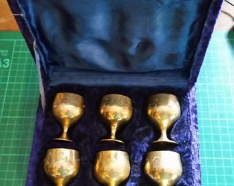 Set of Six Etched Electro Plated Goblets in Presentation Box