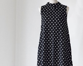 Black and White Polka Dot Swing Dress/Spring Dress/Wedding Guest Dress