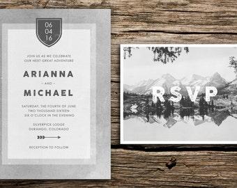 Mountain Minimalist Wedding Invitation Suite // Mountain Wedding Invitations Rustic Wedding Invites Colorado Crest Arrows Minimal Black Grey