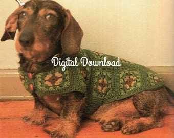 Small Dog Dachshund Sweater, Puppy, Hippie Granny Square, Auggie Doggie, Vintage Crochet Pattern, Quick Easy, Digital Download, Instant PDF