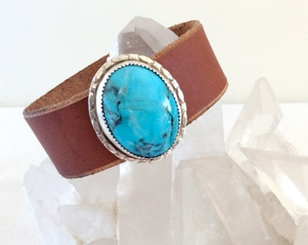 Classic Turquoise, Sterling Silver and Leather Cuff