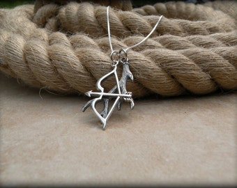 Bow and arrow necklace, Hunter necklace, Archery jewelry