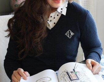 Knit V-Neck Monogram Sweater
