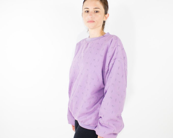 80s Vintage Purple Paisley Quilted Sweatshirt | Soft and Comfy Oversized Pullover | Size Large | Grunge | Skater | Street