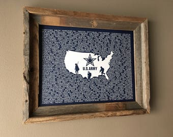 The United States Army Word Map (Blue) - Unframed