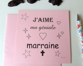 Carte J'aime ma géniale marraine- Pour remercier- Pour annoncer le choix de la marraine- Carte rose- Carte pour marraine- Carte de baptême