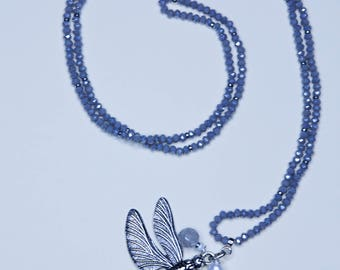 AB grey crystal necklace with dragonfly Pendant