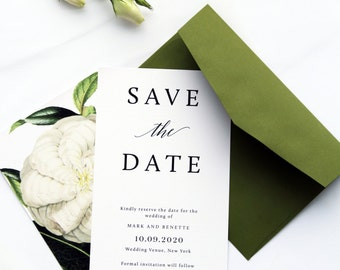 Adele Save the Date Cards, Modern and Elegant Cards, Printable File or Printed Cards, Premium Papers, Custom Size and Colors by Paradise