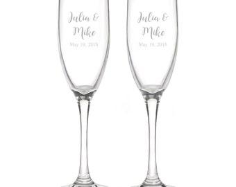 Personalized Wedding Flutes,  2 Toasting Flutes, Engraved Wedding Flute,  Names and Date Toasting Flutes,  Bride & Groom Champagne Flutes