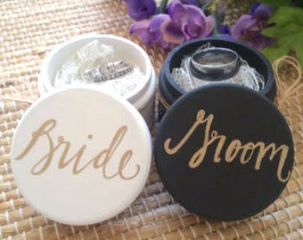 Bride and Groom Ring Boxes, Bride and Groom Ring Bearer Boxes, Set of Two, Wooden Ring Box, Wedding Gift, Rustic Ring Bearer Box with Lace