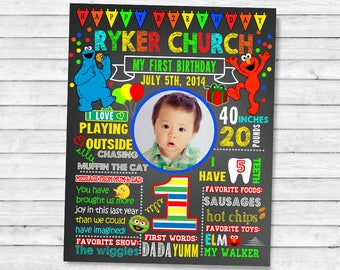 Printable Elmo Sesame street First Birthday chalkboard sign - 1st birthday chalk board poster (15)