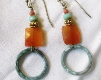 carnelian and patina hoop earrings