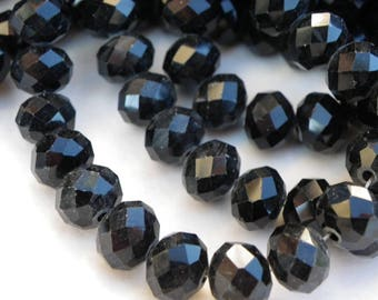 70 mmx6 8 mm Abacus has glossy black faceted crystal glass beads