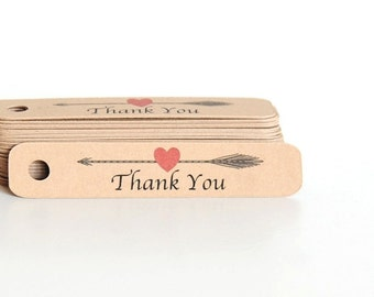 Mini Thank You Tags / Arrow Thank You Tags / Thank You Hang Tags / Gift Tags / Wedding Favor Tags / Kraft Tags