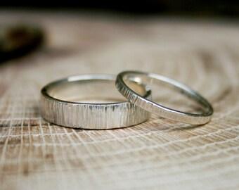 Silver Tree Bark Wedding Rings: Rustic Wedding Rings, Silver Wedding Bands, Wedding Ring Set, Commitment Rings, Unusual Wedding Bands