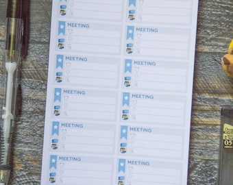 Meeting Stickers for Weekly Scheduler / Matte & Writeable