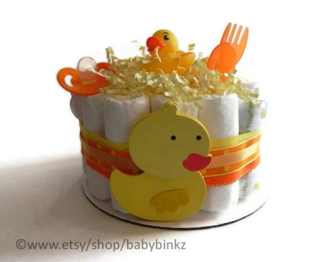 Rubber Duckie Diaper Cake - One Tier  Baby Shower gift or centerpiece cute yellow orange neutral