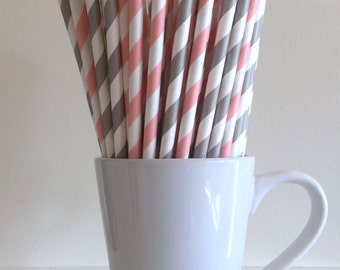 Pink and Gray Striped Paper Straws Blush Pink and Grey Party Supplies Party Decor Bar Cart Cake Pop Sticks Mason Jar Straws Graduation