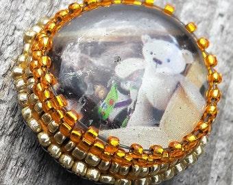 Teddy bear pin badge, bead embroidered brooch, bead embroidery jewelry, teddy bear brooch, bead brooch, brooch pin, teddy bear badge, button