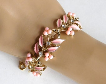 Vintage Coro Signed Pink Enamel, Acrylic and Rhinestone Flower Bracelet - Goldtone Metal - Mid-Century Designer Jewelry - 1950s, 1960s