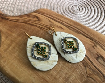 Unique Emerald CZ and Wood Earrings