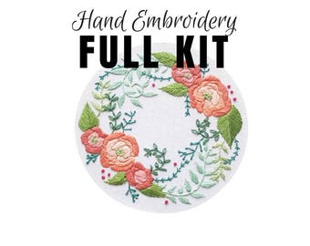 Hand Embroidery DIY Kit: Delicate Roses - Stitching Tutorial- Cotton DMC Floss - Modern Contemporary Embroidery Design - DIY Hoop Art