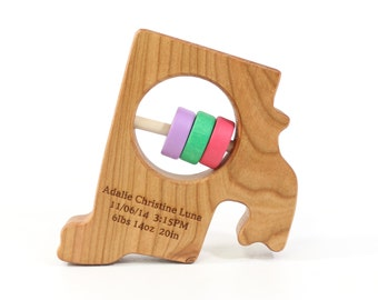 Rhode Island State Baby Rattle™ - Modern Wooden Baby Toy - Organic and Natural