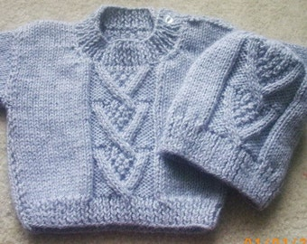 Ardan baby and toddler sweater and hat PDF knitting pattern